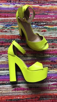pair of green leather platform stilettos San Antonio, 78249