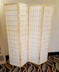 Brand New 4 Panel Natural Wood Room Divider