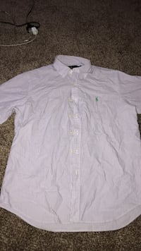 gray pinstriped Polo button-up collared shirt