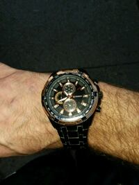round black chronograph watch with silver link bracelet Akron, 44305