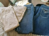 three blue, gray, and black denim jeans Daniels, 25832