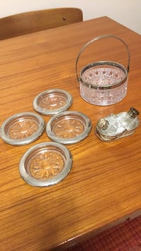 crystal and silver plate coasters, salt n pepper, and little basket Toronto, M4C 2P6