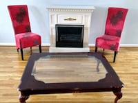DISCOUNTED - Mahogany Wood Coffee Table w/ Glass Table Top Germantown, 20876