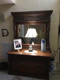 Brown wooden dresser with mirror. Goes with bed for 4,000 Pine Grove, 17963