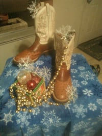 pair of brown-and-white leather cowboy boots