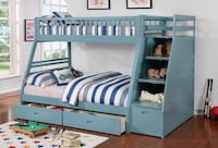 Merlin Light Blue Twin over Full Staircase Bunk Bed with 2 Storage Drawers | 9062 Houston, 77036