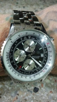 round Breitling chronograph watch with silver link Belton, 76513