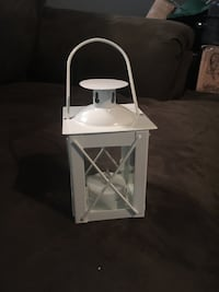 White metal framed glass candle lanterns