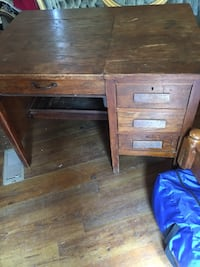 brown wooden single pedestal desk Jacksonville, 36265