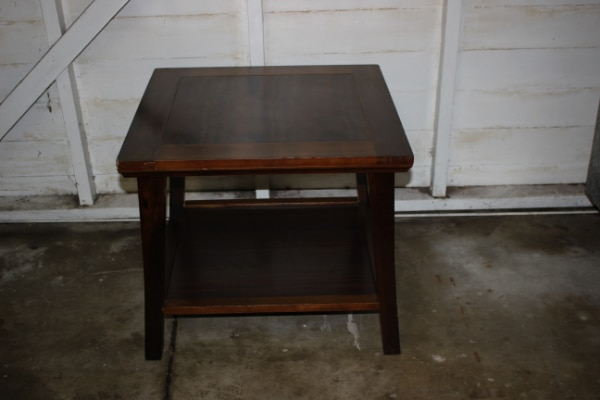 Pier One Brown Wood Double Tier Side Table