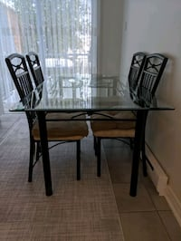 Glass top dining table