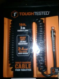 10 ft. black and orange Tough Tested tablet charging cable