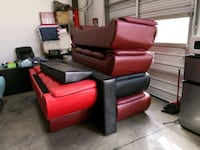 red leather padded sofa set Chino, 91710