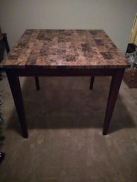 Marble Granite Top Wooden Dining Table.