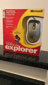 black Microsoft corded computer mouse with red box Rockville, 20852