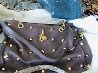 Soft brown leather gold studded shopper RUSKIN