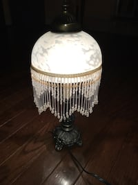 Vintage Frosted Etched Glass Fringe Dome Beaded Shade Table Lamp