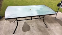 Clear glass patio table