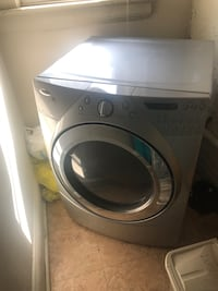 gray front-load clothes dryer