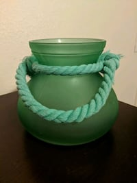 Beautiful Green vase with rope tie