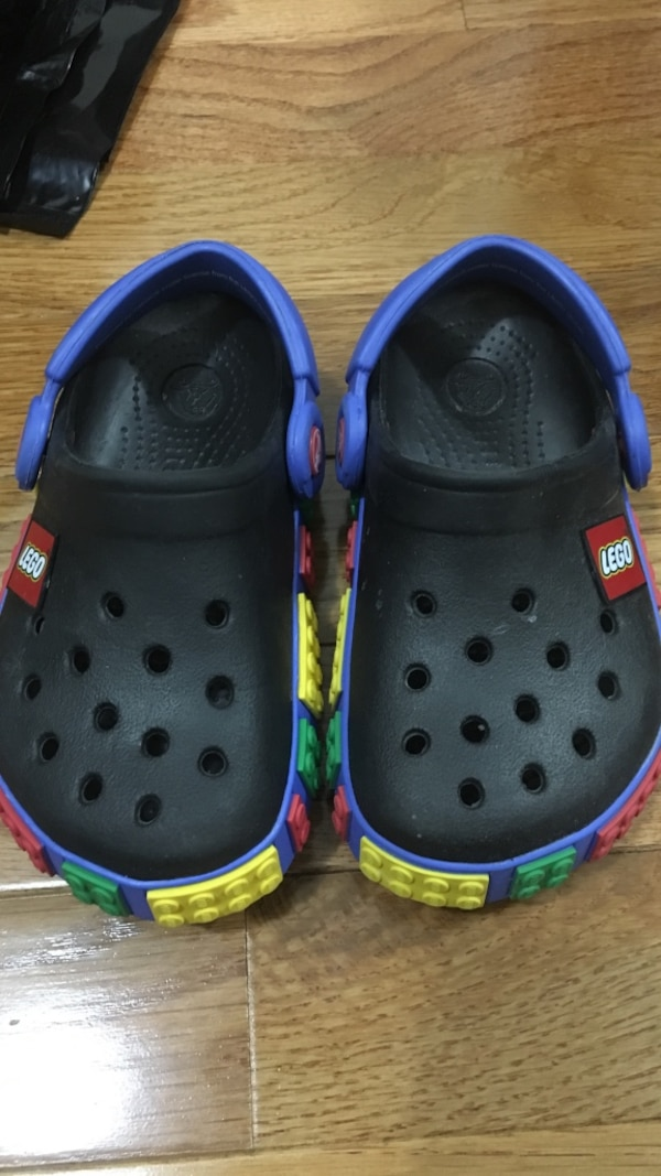 83a50256bb1c Used Pair of black-and-blue LEGO crocs for sale in Oyster Bay - letgo