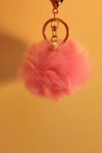 Pink mini fluff key chain 29 km