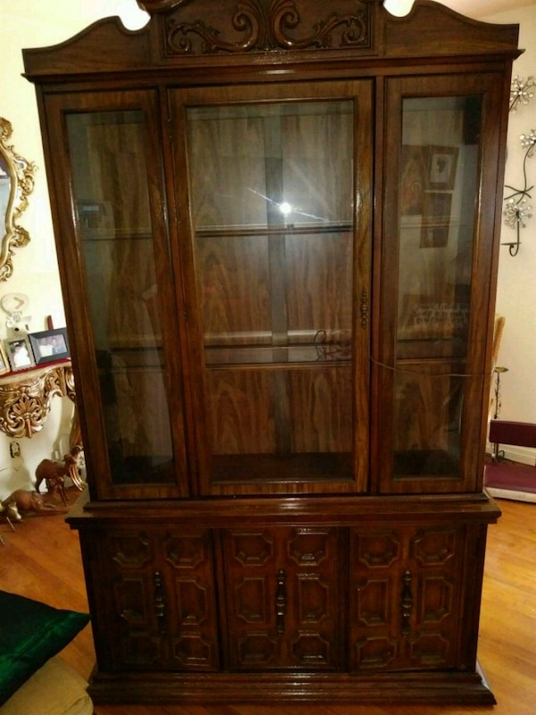 Antique China Cabinet With Light On The Inside