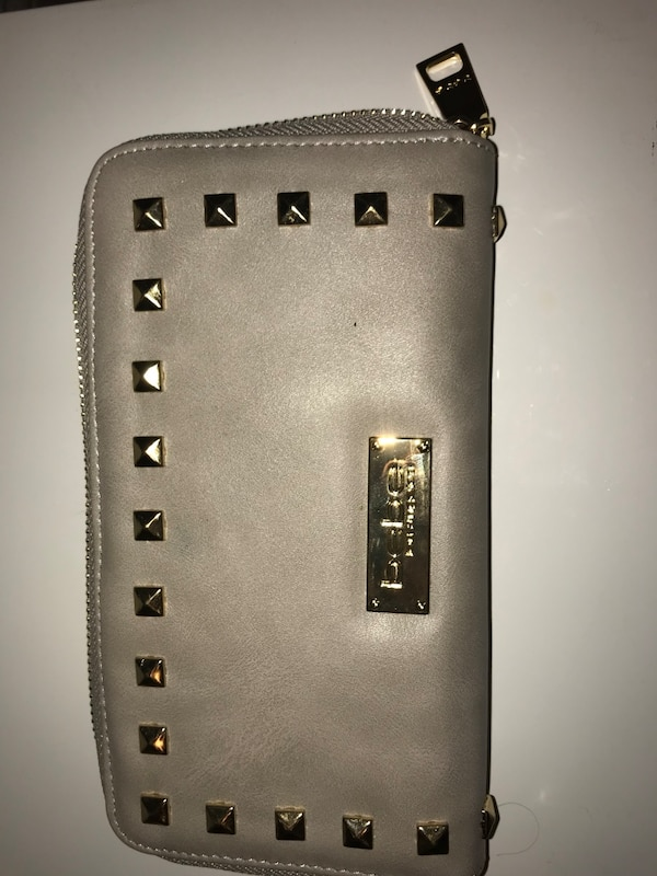 Gray leather zippered wallet