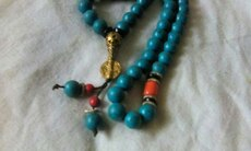 rare, rich turquoise jade, agate tibetan necklace