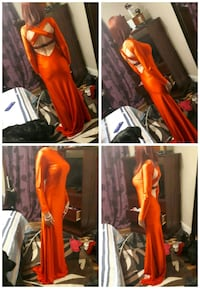 Real satin long red gown