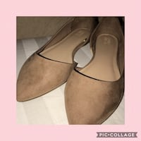 brown suede d'orsay flat shoes screenshot