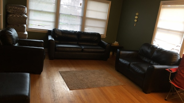 Black leather 3-piece sofa set and two table