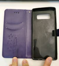 Purple Leather Wallet Note 8 Case