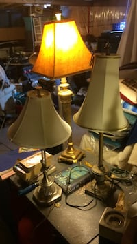 Two brown wooden base table lamps Orangeville