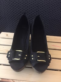 Pair of black canvas gold buckled peep toe wedges Alexandria, 22307