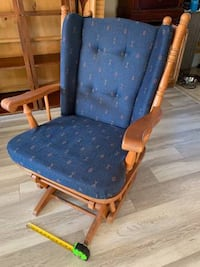 Very Comfortable Blue Cushion and Solid Wood Rocking Chair Glider