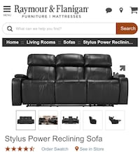 Raymour & Flanigan black leather recliner sofa brand new 50% discounted Silver Spring
