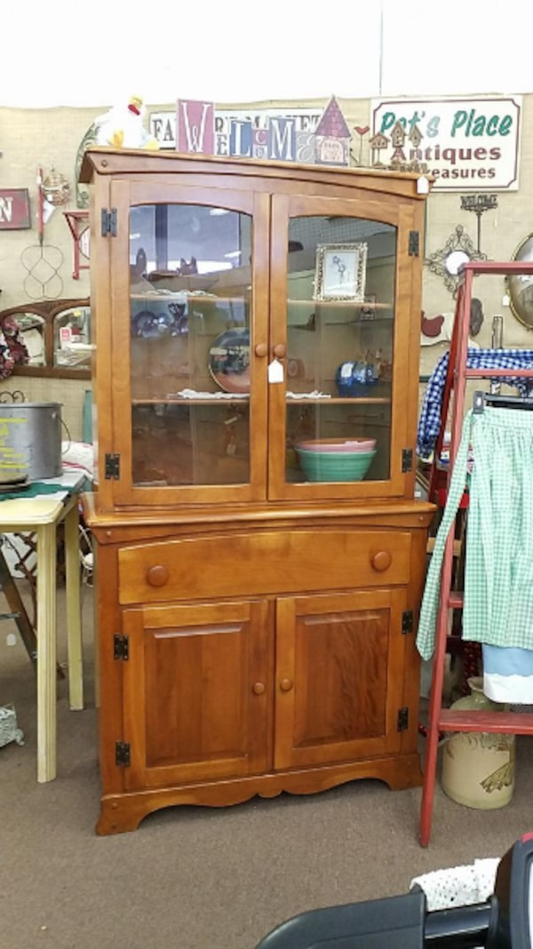 Antique Hutch With Gl Doors Image And Candle