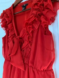 Red ruffle lace satin tie frill top Brampton, L6R 3H9