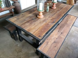 Authentic barn wood table set w/benches