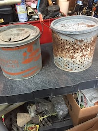 Two vintage minnow buckets