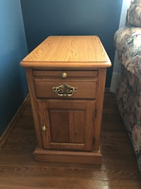 brown wooden 2-drawer nightstand FREDERICK