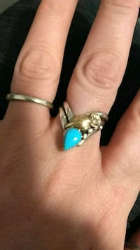 Sterling Navajo signed turquoise & gold ring-size9