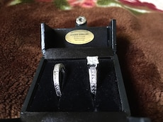 silver engagement and wedding rings set in box