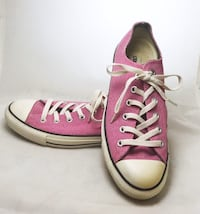 Womens Pink Textured Canvas All Star Converse Sneakers Carson, 90745