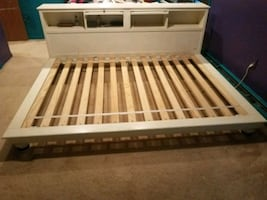 Queen platform bed frame with power and storage