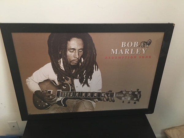 Bob Marley redemption song poster in frame