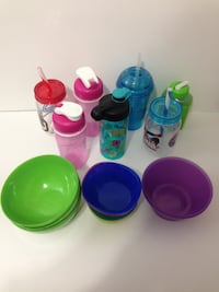 KIDS PLATES AND BOTTLES/CEREAL BOWLS - $20