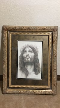 Jesus portrait in ornate wood frame Lancaster, 93536