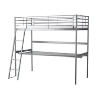 IKEA twin size bunk bed with ladder and full desk